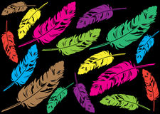 Cartoon illustration of color feathers Royalty Free Stock Photos