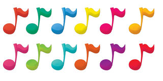 Cartoon illustration of colorful music notes - isolated Stock Photos