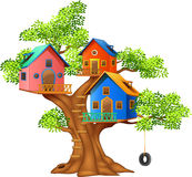 Cartoon illustration of a colorful tree house Royalty Free Stock Images