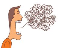 Man with huge mouth communicating a tangled message vector illustration