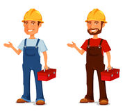 Cartoon illustration of a construction worker Stock Photography