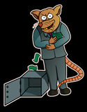 Cartoon illustration of a corrupt rat stealing money from safes Stock Image