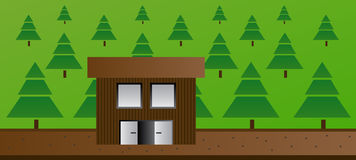 Cartoon illustration of cottage or cabin in the forest. With many vector trees and with the path. Eps format 10 is available Royalty Free Stock Photography