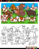 Cows and bulls characters coloring book. Cartoon Illustration of Cows and Bulls Farm Animal Characters Group Coloring Book Activity Stock Photography
