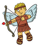 Cartoon illustration of a cupid angel aiming with bow and arrow Royalty Free Stock Photos