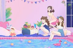 Cartoon illustration of 3 cute Asian teen girls having fun and pool party in the large bathroom with swimsuit in vintage fashion Royalty Free Stock Photography