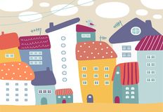 Cartoon illustration with cute colorful houses. Royalty Free Stock Photos