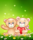 Cartoon illustration of cute couple of teddy bear hugging heart. Illustration of cute couple of teddy bear hugging heart vector illustration
