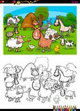 Cute farm animals characters group color book. Cartoon Illustration of Cute Farm Animal Characters Group Coloring Book Activity Royalty Free Stock Image
