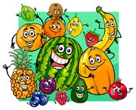 Cute fruit characters group cartoon Stock Photography