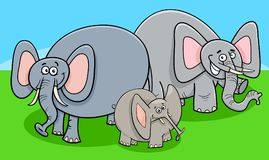 Funny elephants cartoon character group Stock Images