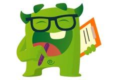 Cartoon Illustration Of Cute Green Monster. Cute green monster wearing glasses . Vector cartoon illustration. Isolated on white background stock illustration