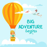Cartoon illustration with cute little girl flying on air balloon in the sky. Royalty Free Stock Photos