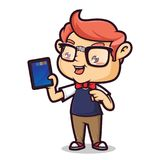 Nerd Geek Holding Computer Tablet. Cartoon illustration of a cute Nerd Geek, Isolated in white Background vector illustration