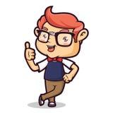 Nerd Geek Leaning stock illustration