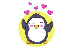 Cartoon Illustration Of Cute Penguin royalty free illustration