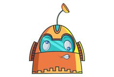 Cartoon Illustration Of Cute Robot. Cute Robot with naughty eyes. Vector Illustration. Isolated on white background stock illustration