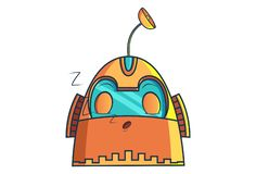 Cartoon Illustration Of Cute Robot. Cute Robot sleeping. Vector Illustration. Isolated on white background