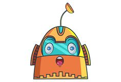 Cartoon Illustration Of Cute Robot. Cute Robot surprised. Vector Illustration. Isolated on white background