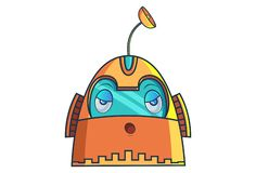 Cartoon Illustration Of Cute Robot. Cute Robot tired. Vector Illustration. Isolated on white background