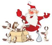 Cartoon Illustration  of a Cute Santa Claus and a Box of Puppies Royalty Free Stock Image