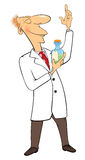 Cartoon illustration of  cute scientist with Mixture Stock Photography