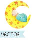 Cartoon illustration of cute sleeping child. Cartoon illustration of hand drawing elements, Good night collection, cute sleeping child Stock Photos