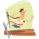 Cartoon  illustration of cute smiling runner at finishing Royalty Free Stock Photography