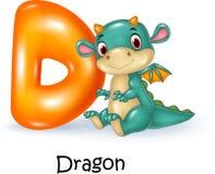 Cartoon illustration of D letter for Dragon Stock Photo