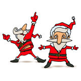 Cartoon illustration of dancing Santa Claus in various poses Stock Photos