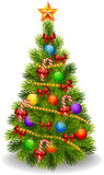 Cartoon illustration of decorated Christmas tree isolated on white background Royalty Free Stock Image