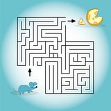 Cartoon illustration depicting a mouse looking for a cheese in a maze. Vector graphics. Hand drawing.  Royalty Free Stock Images