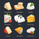 Cartoon illustration of different cheeses. Vector pictures set Royalty Free Stock Photography