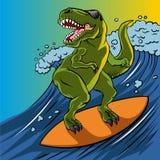 Cartoon illustration of a dinosaur surfing. Royalty Free Stock Photo