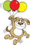 Cartoon dog holding balloons. Royalty Free Stock Images