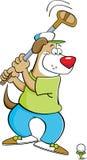 Cartoon dog swinging a golf club. Cartoon illustration of a dog swinging a golf club Royalty Free Stock Photography