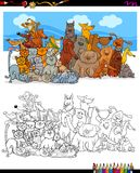Cats and dogs characters group color book. Cartoon Illustration of Dogs and Cats Animal Characters Group Coloring Book Activity Royalty Free Stock Photo