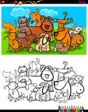 Cats and dogs characters group coloring book. Cartoon Illustration of Dogs and Cats Animal Characters Group Coloring Book Activity Stock Image