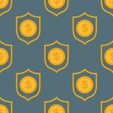 Cartoon illustration of dollar currency symbol vector pattern bank. Finance business seamless money background. Wrapping financial economy gold sign Royalty Free Stock Image