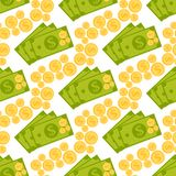 Cartoon illustration of dollar currency symbol vector pattern bank finance business seamless money background. Wrapping financial economy gold sign Royalty Free Stock Photography