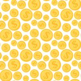 Cartoon illustration of dollar currency symbol vector. Pattern bank finance business seamless money background. Wrapping financial economy gold sign Stock Photo