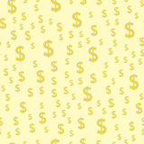 Cartoon illustration of dollar currency symbol vector pattern bank finance business seamless money background. Wrapping financial economy gold sign Royalty Free Stock Image