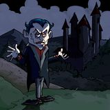 Cartoon illustration of Dracula and castle stock illustration