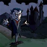 Cartoon illustration of Dracula and castle. Its dark night Royalty Free Stock Photos