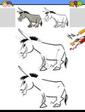 Drawing and coloring worksheet with donkey. Cartoon Illustration of Drawing and Coloring Educational Activity for Children with Donkey Farm Animal Character royalty free illustration