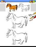 Drawing and coloring activity with horse or pony Royalty Free Stock Photos
