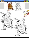 Drawing and coloring activity with potato beetle Stock Images