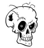 Cartoon Illustration or Drawing of Crazy Halloween Skull stock photos