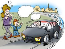 Cartoon illustration of a driverless car Stock Images
