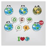 Cartoon illustration Earth. Cartoon illustration of the Earth with different emotions. Ecology theme Royalty Free Stock Photos